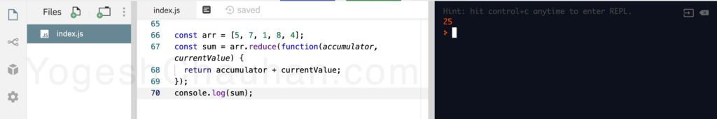 Higher Order Functions in JavaScript: without function reduce