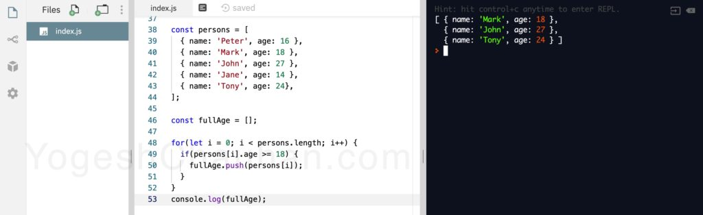 Higher Order Functions in JavaScript: without filter function