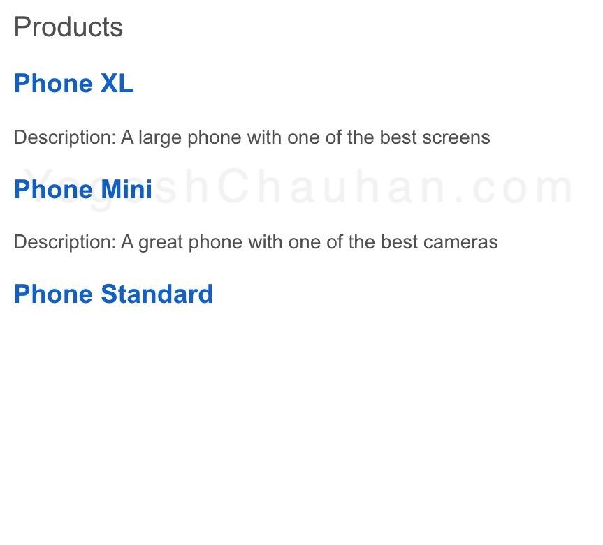 output: products list with description