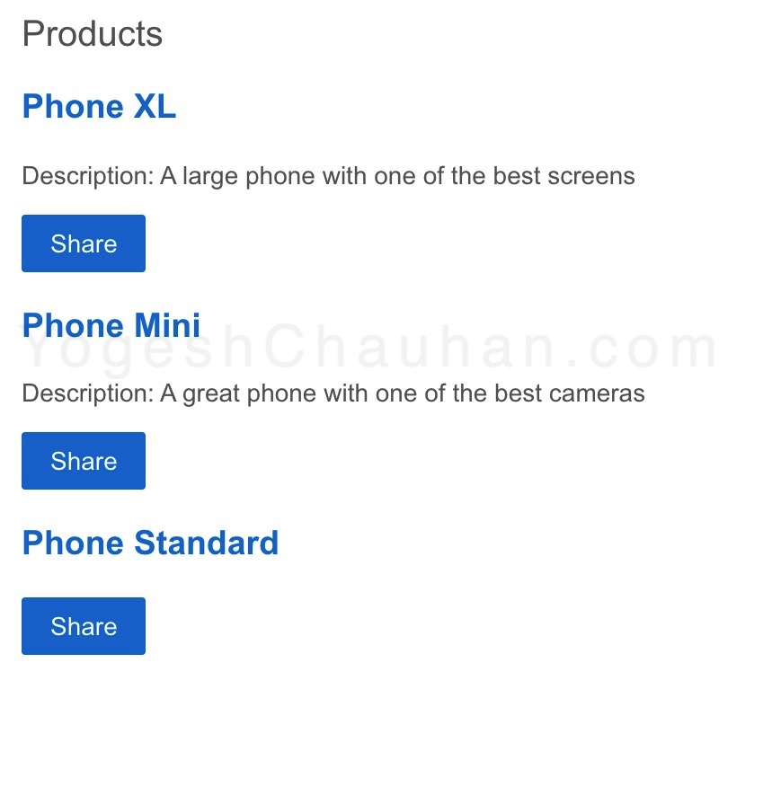 output: products list with share buttons